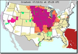 US weather map; July 19, 2011