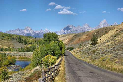 Gros Ventre Road into the Tetons