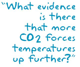 What evidence is there that more CO2 forces temperature up further?